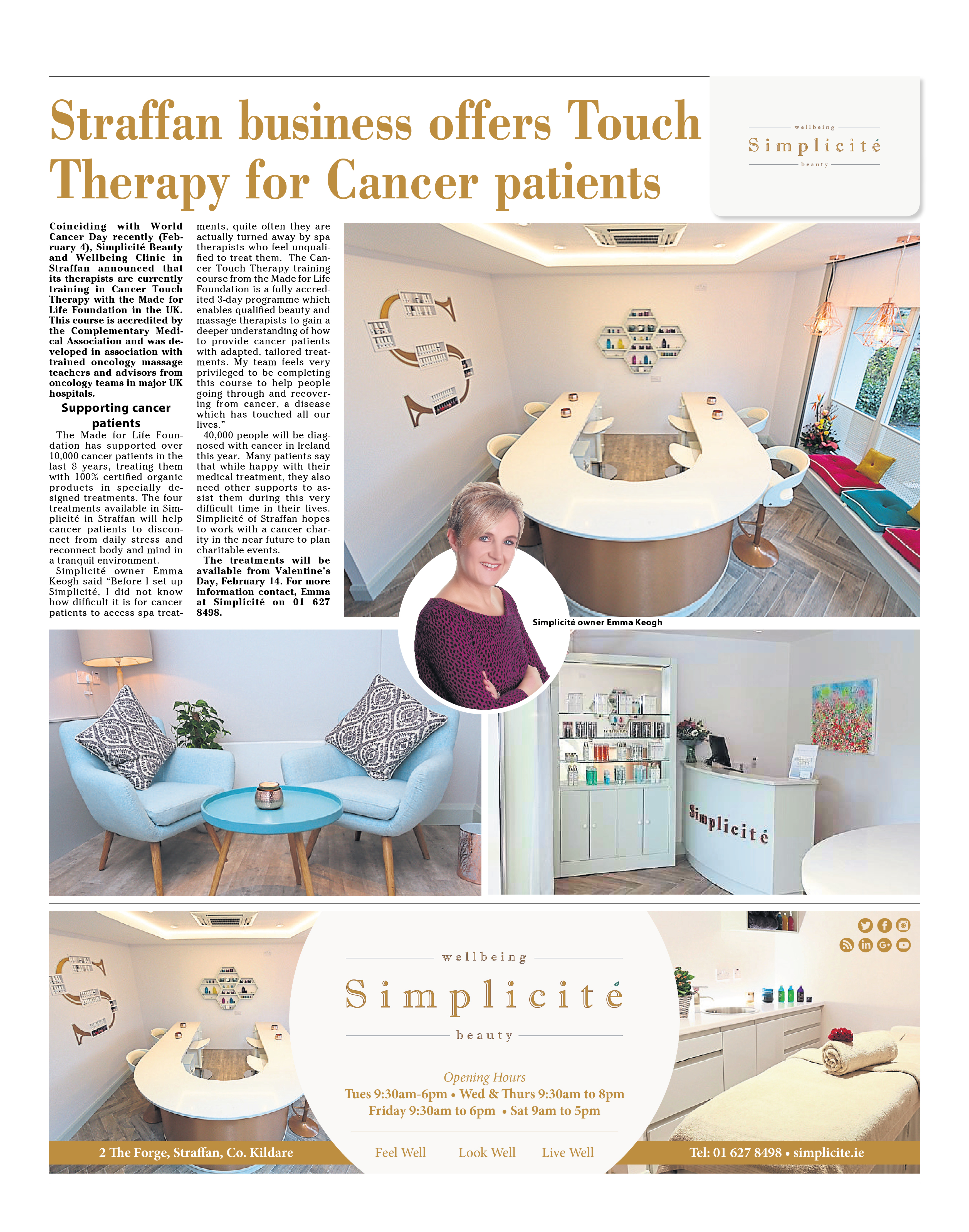 Simplicité offers Touch Therapy for Cancer Patients.